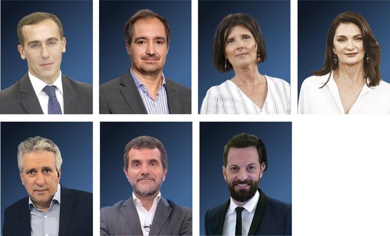 """Hugo Alconada Mon, Diego Cabot, Luciana Vázquez, Mariana Arias, Daniel Santa Cruz, Paulino Rodrigues y Juan Manuel """"el Rifle"""" Varela"""