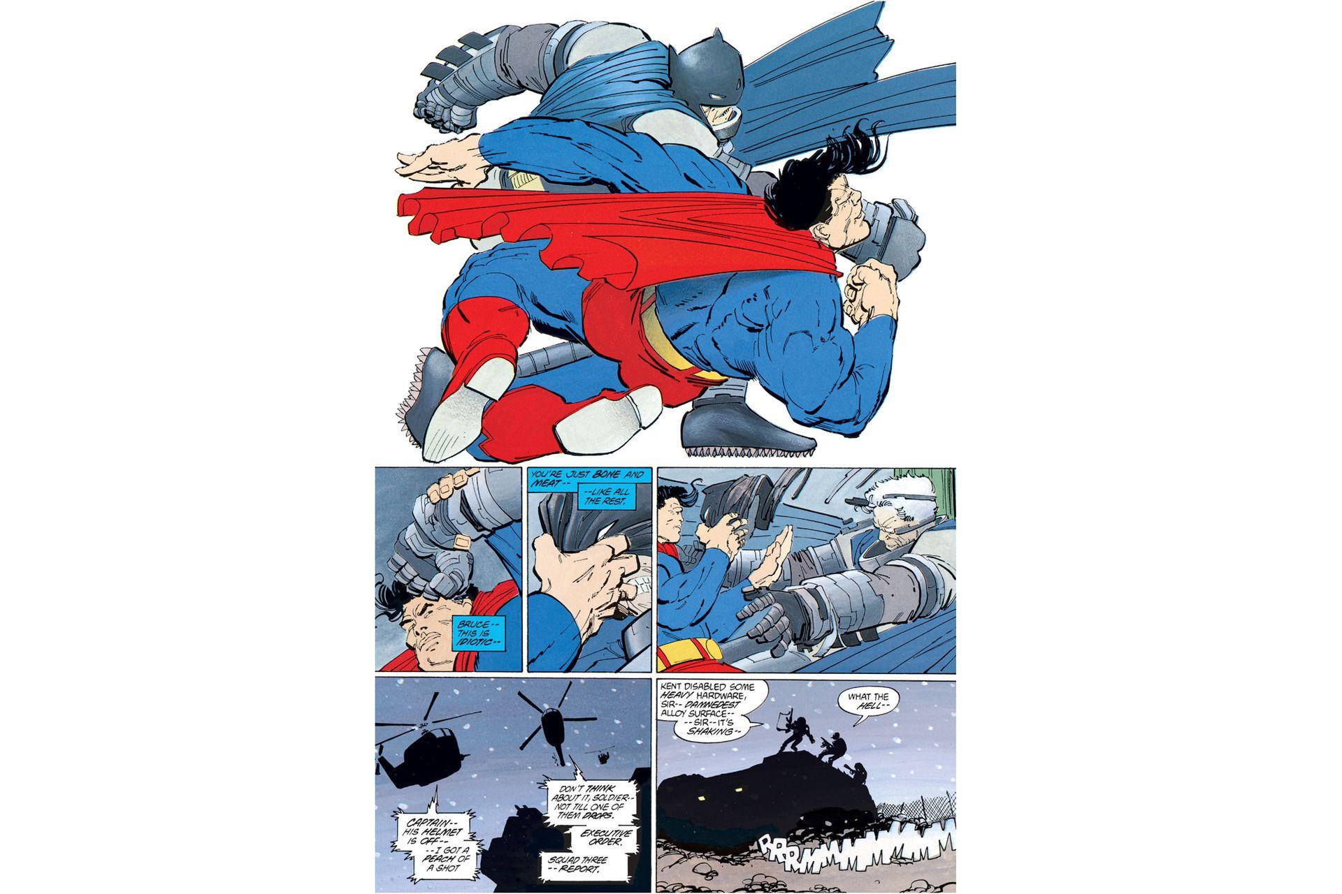 En El regreso del Caballero de la Noche, Frank Miller enfrenta a un Batman cincuentón y revolucionario, contra un Superman conservador bajo las órdenes de Ronald Reagan. Zack Snyder adaptó esta secuencia dentro del film Batman versus Superman.
