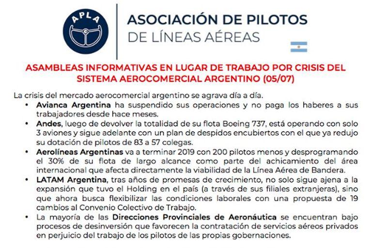 Asociación de Pilotos de Líneas Aéreas (APLA); Pablo Biró; vuelos; Aeroparque Jorge Newbery; Aeropuerto Ministro Pistarini (Ezeiza)