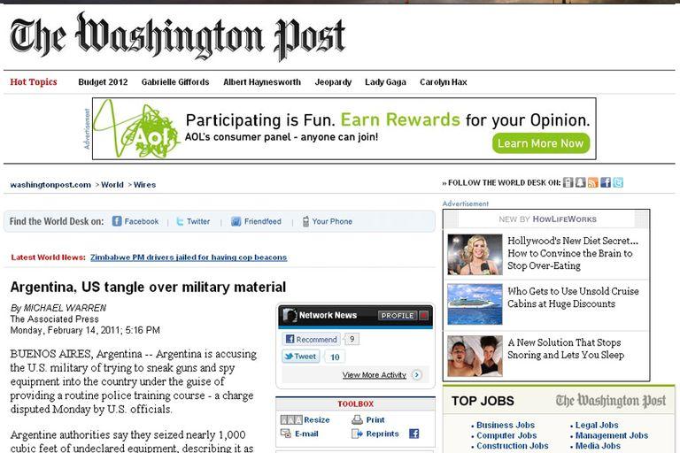 El caso del avión en The Washington Post