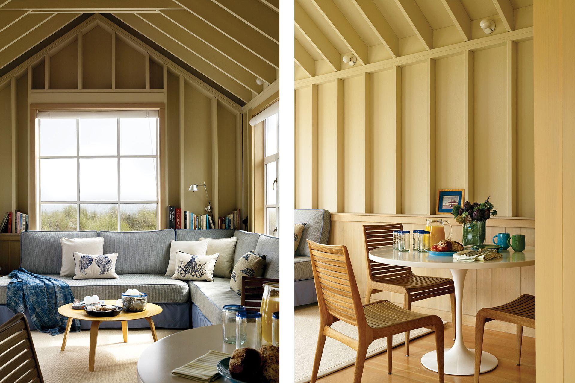 La sala de estar se transforma en cuarto extra: el sillón rinconero está hecho con dos camas de una plaza. Junto a la cocina semicerrada, un rincón para desayunar donde Lewis Butler se dio el gusto de poner una mesa 'Tulip'.