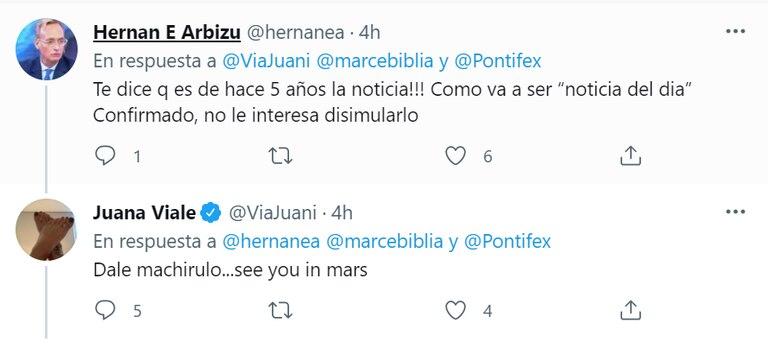 Juana Viale se enfrentó con un exbanquero que la criticó por un mensaje que la conductora envió al papa Francisco