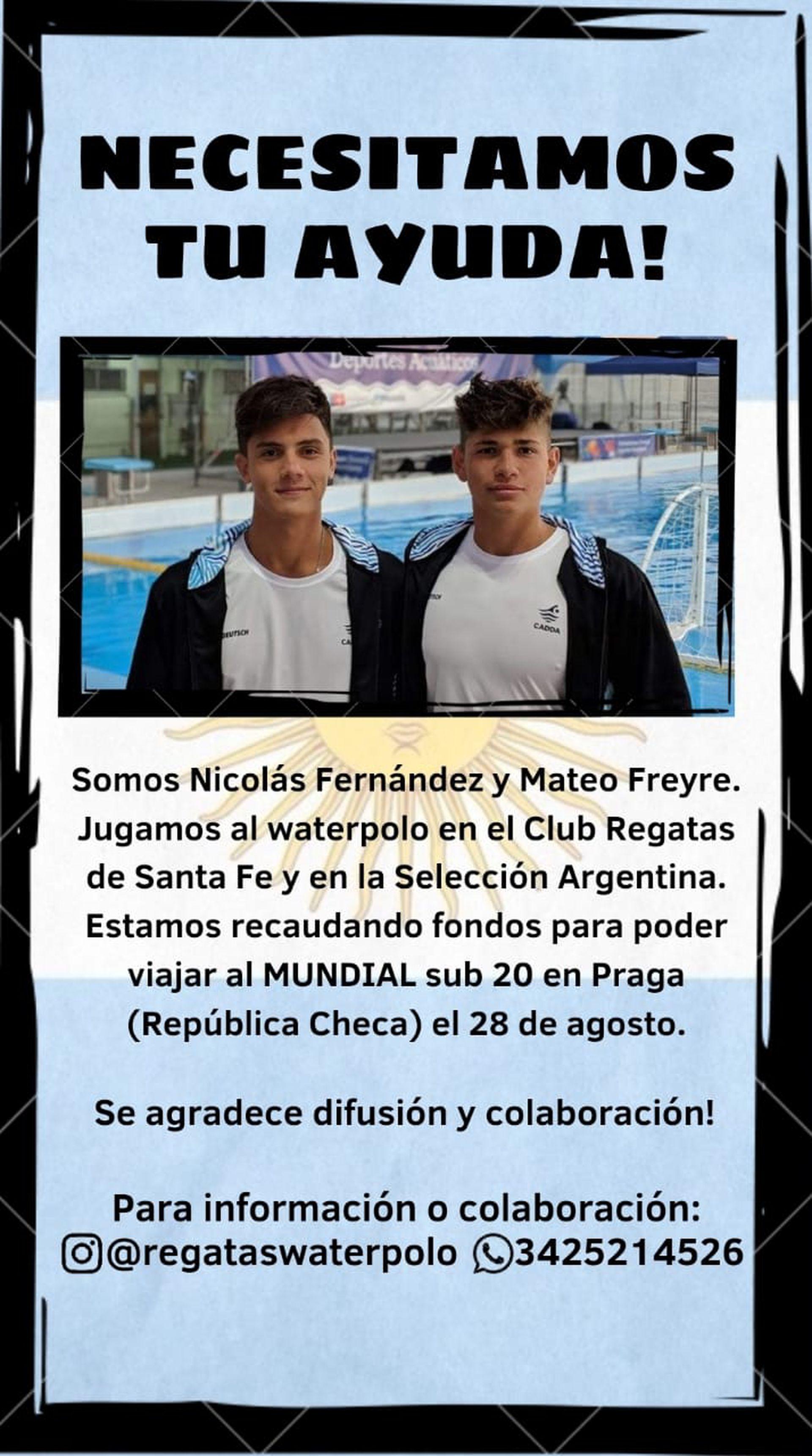 Nicolás Fernández y Mateo Freyre organizaron una venta de alfajores para recaudar fondos para viajar al mundial de waterpolo. Con esta imagen están envueltos los alfajores que venden en Santa Fe.