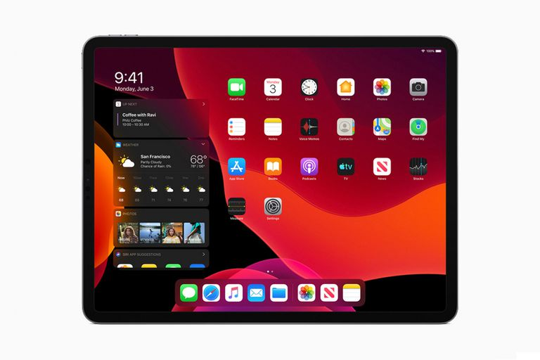 Una vista del iPad con los widgets de la pantalla de inicio de iPadOS y el modo oscuro