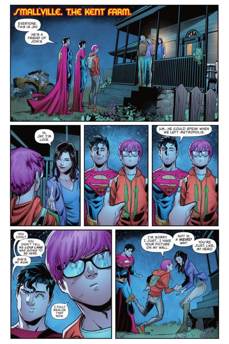 En un episodio reciente de la tira, Jay Nakamura conoce a los papás de Jonatan Kent, y se emociona al conocer a su heroína periodística Luisa Lane