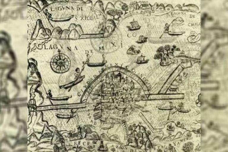 Este mapa representa la Ciudad de México anegada de agua tras la inundación de 1629