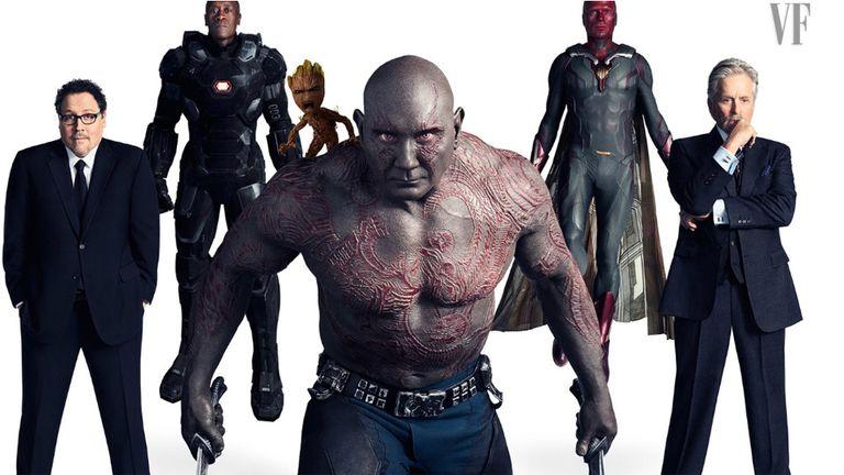 Jon Favreau (Happy Hogan), Don Cheadle (War Machine), Vin Diesel (Groot), Dave Bautista (Drax), Paul Bettany (Visión), y Michael Douglas (Dr. Hank Pym)