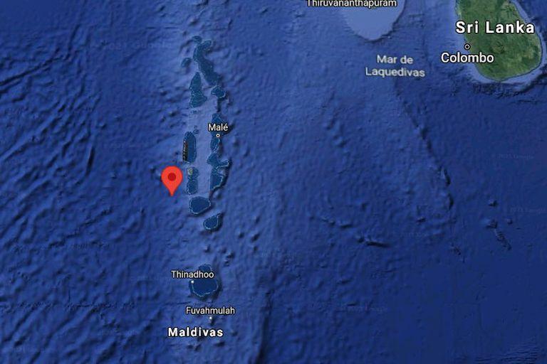 El lugar del impacto de los restos del cohete: al oeste de las Islas Maldivas