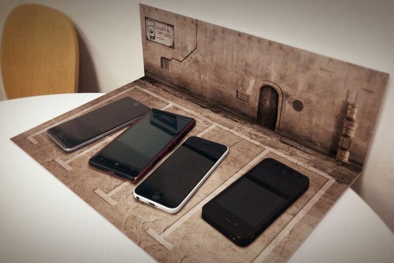 """Uno de los diseños del """"estacionamiento"""" para celulares"""