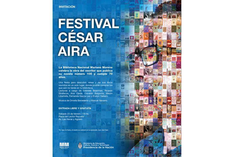 Flyer del Festival César Aira, que se celebrará el próximo sábado a partir de las 18 en la Biblioteca Nacional