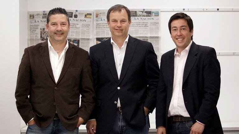 Gustavo Menéndez, intendente de Merlo; Mariano Cascallares, de Almirante Brown, y Leonardo Nardini, de Malvinas Argentinas, nuevo ministro de Infraestructura de Kicillof