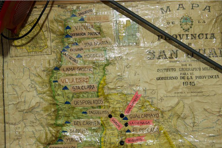Un mapa con las principales explotaciones mineras de la zona