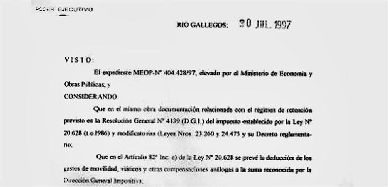 El decreto firmado por el gobernador Kirchner en 1997