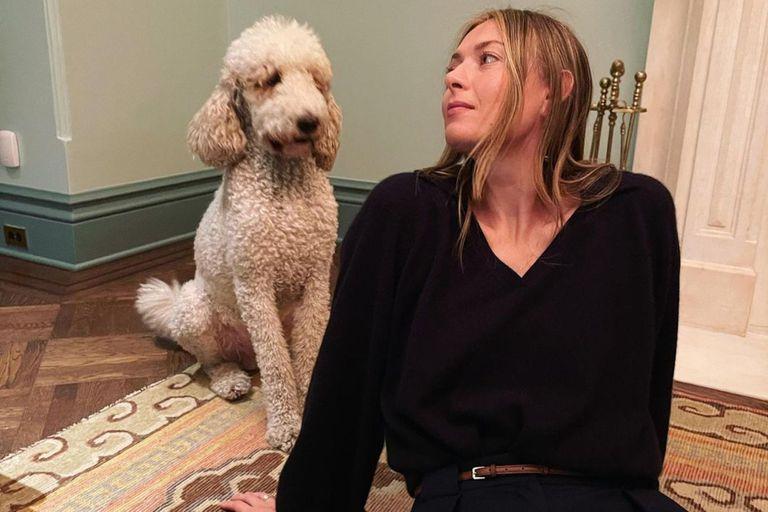 El descuido de María Sharapova junto a su perro