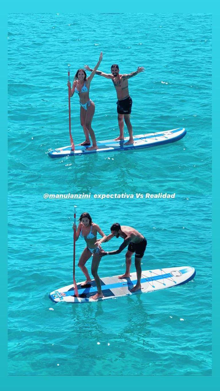 Manu Lanzini y su novia haciendo paddle surf.