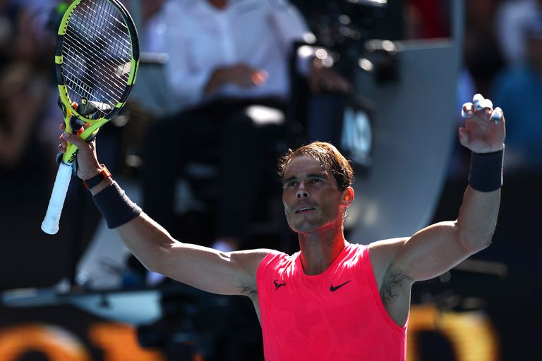 Rafael Nadal celebra su triunfo ante el boliviano Dellien en Australia