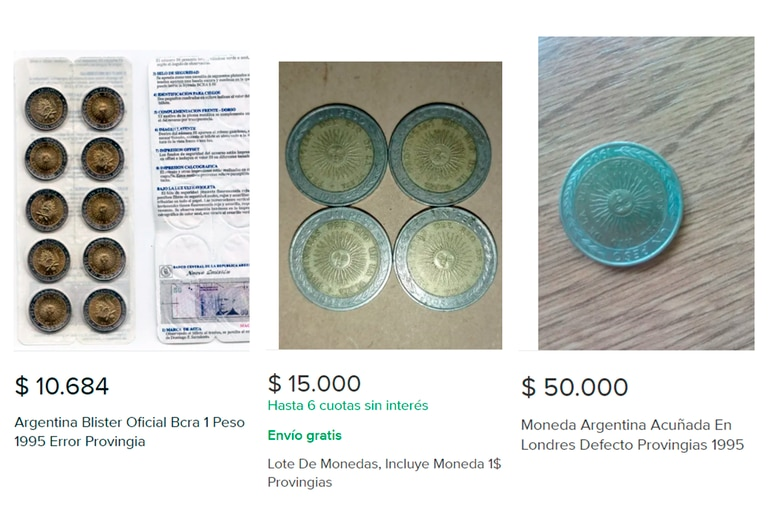 Tres de las publicaciones con las monedas defectuosas con los precios más elevados