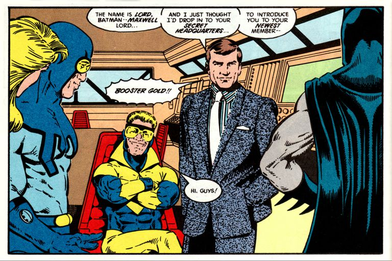 Así se presentaba Maxwell Lord ante Batman en el número tres de la Liga de la justicia (1987)
