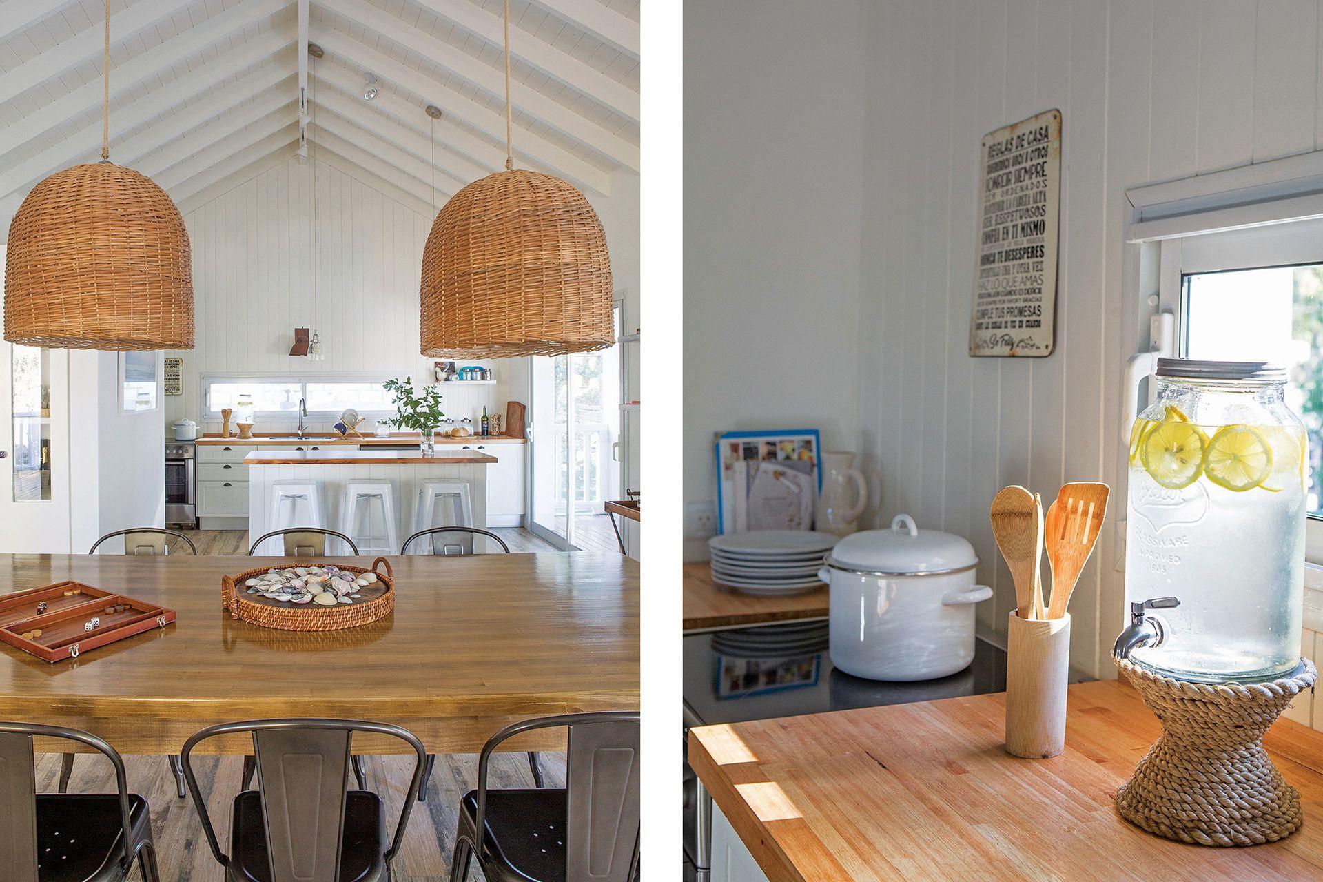 Sobre la mesada de la cocina, un dispenser de agua (Pottery Barn) que trajeron desde Miami.