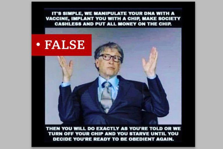 """Las teorías de que Bill Gates planea utilizar la vacuna para """"manipular"""" o """"alterar"""" el ADN humano se ha compartido ampliamente. Todas son falsas."""