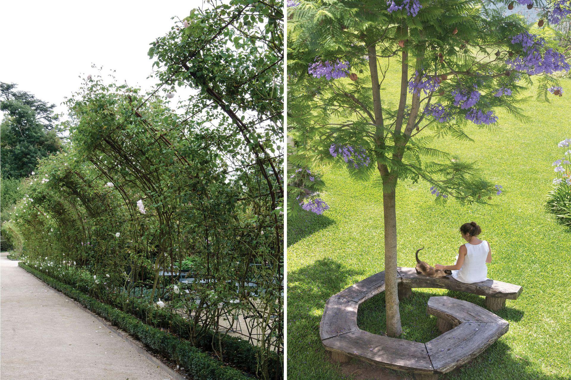 Izquierda: una media pérgola puede servir para dividir sectores o para remarcar un sendero. Derecha: la rusticidad del banco y sus líneas orgánicas logran que se integre con naturalidad en el paisaje.