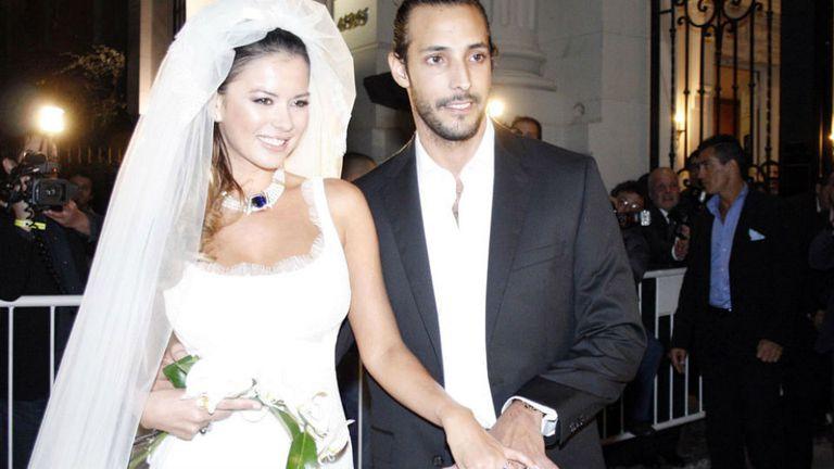 Karina Jelinek y Leonardo Fariña, en su casamiento en 2013