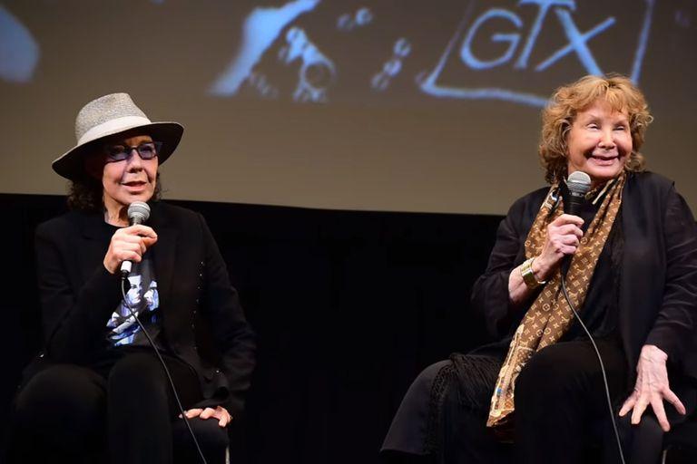 Lily Tomlin y Jane Wagner, durante una conferencia de prensa