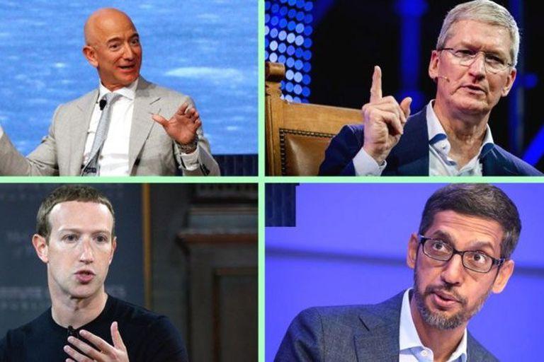 Jeff Bezos, de Amazon; Tim Cook, de Apple; Mark Zuckerberg, de Facebook, y Sundar Pichai, de Google, comparecieron ante el Congreso; los estadounidenses empiezan a preguntarse si estas compañías no son acaso demasiado poderosas