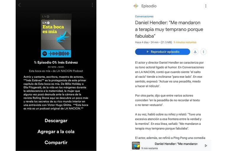 Las opciones en Spotify y Google Podcast para descargar el audio y poder escucharlo sin conexión a Internet