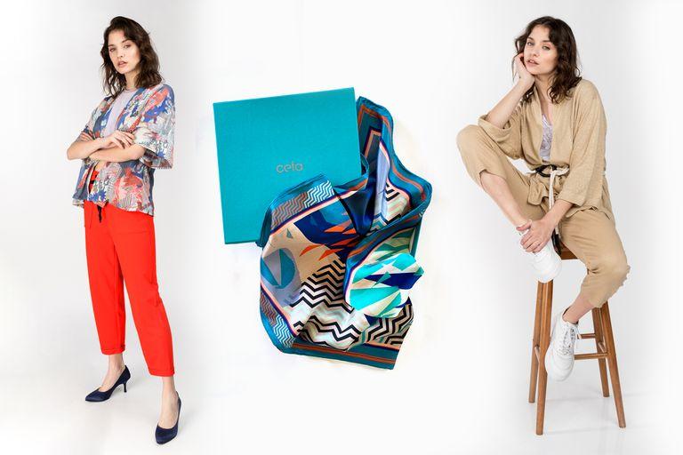 Kimono corto o largo, uno de los ítems del verano, que Mariana Dappiano incluye en su colección lisos o estampados. El pañuelo de la colección Ceta, en till de seda natural, es una delicadeza total. Y, con la compra superior a $20.000, va una chalina de regalo