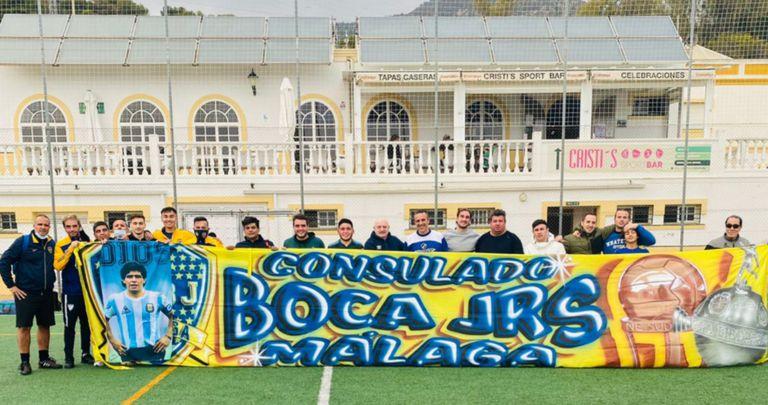 Postal del Consulado de Boca en Málaga