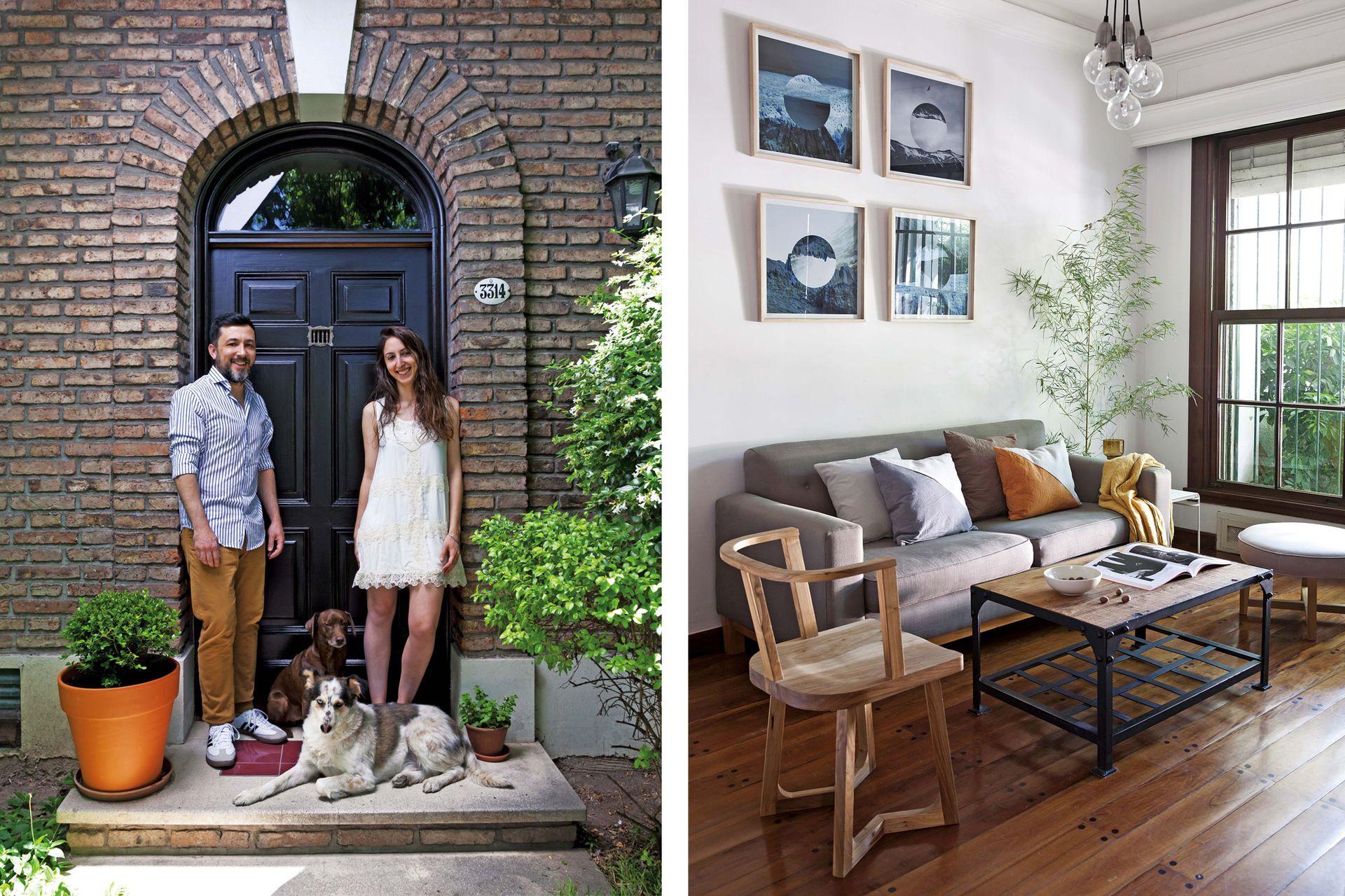 """lueGo de Haber visto casas londinenses con puertas de colores y eleGantes Frentes, esta entrada con patiecito los cautivó. """"¿Cómo Hacemos con dos mascotas sin jardín? El barrio ayuda; es lindísimo para sacarlos a pasear""""."""
