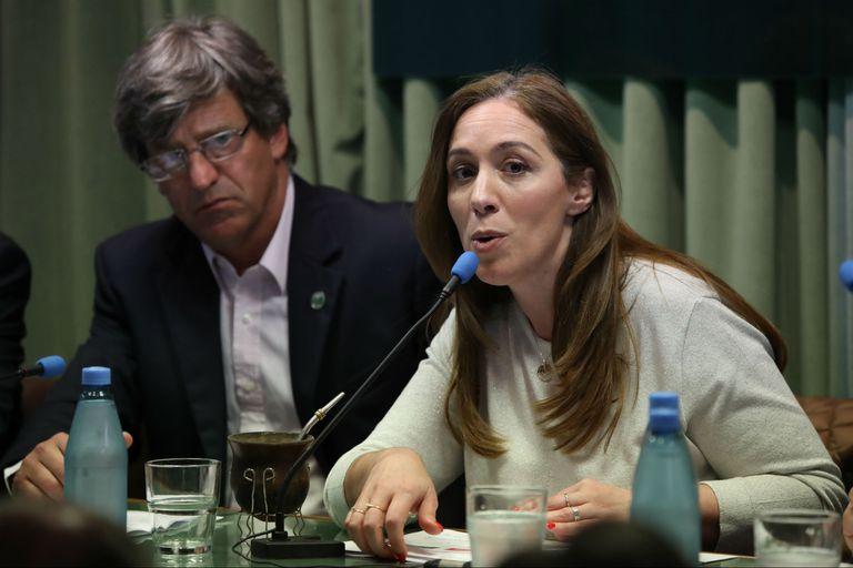La gobernadora bonaerense María Eugenia Vidal, durante su visita a Carbap en la campaña electoral de 2019