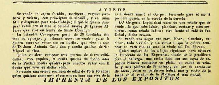 Anuncios del 14 de febrero de 1818 que incluyen ventas de Ignacio Álvarez Thomas y María Guadalupe Cuenca de Moreno.
