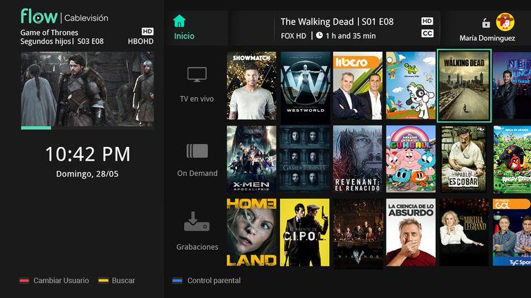 La interfaz que tendrá Flow Box, una de las dos versiones de Flow, en los televisores