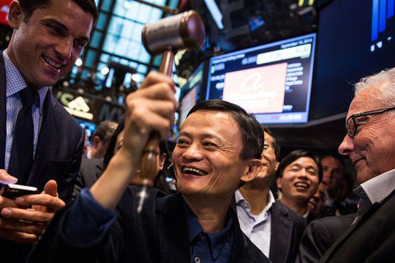 Jack Ma se mostró eufórico en Wall Street