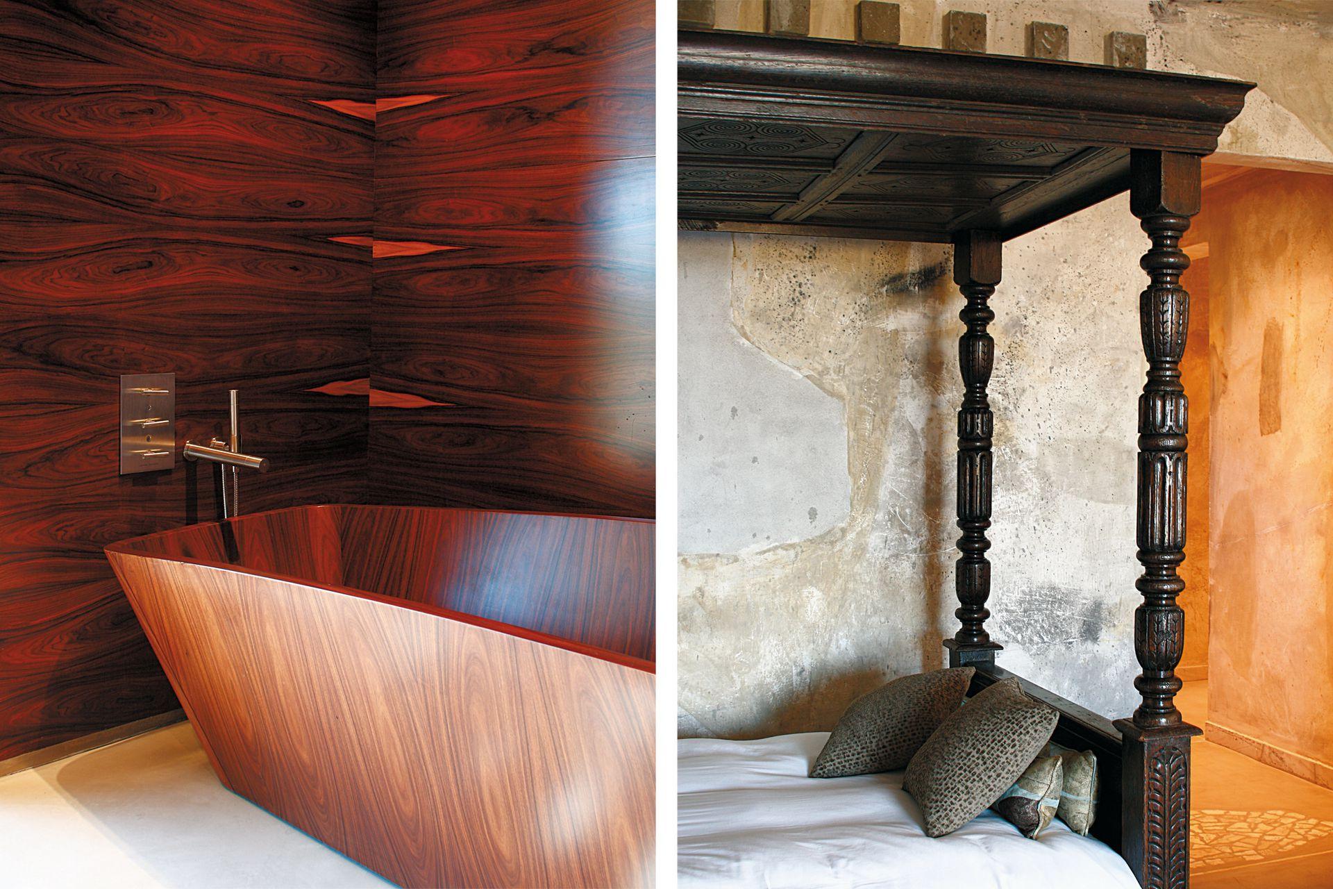El baño de la Suite Vik, enteramente hecho en jacarandá de la India por los hermanos Leal, de Montevideo. Al lado, el artista Eduardo Cardozo, trabajó directamente sobre las paredes, donde representó escenas del campo.