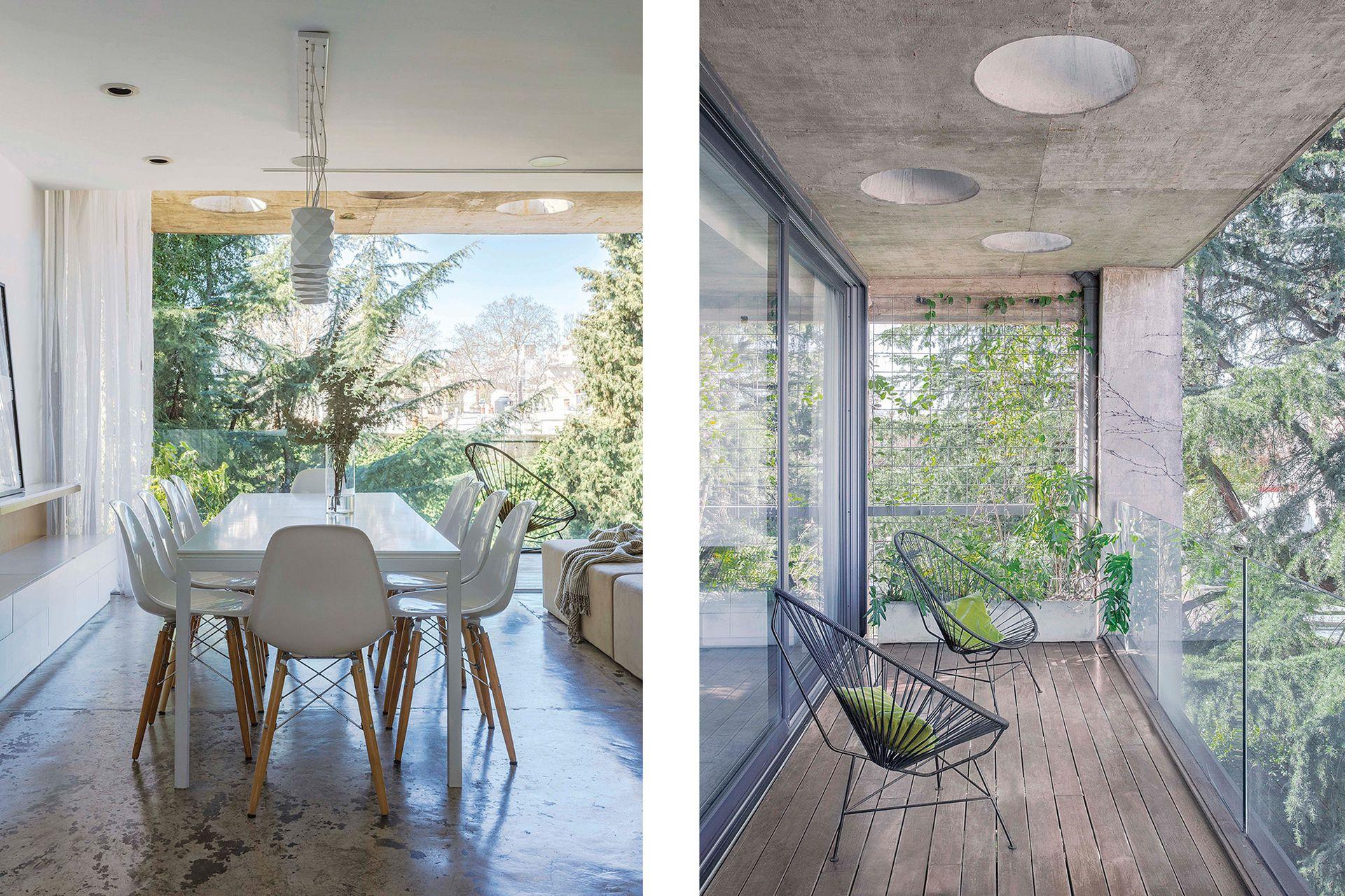 El cielo raso también esconde los conductos de aire acondicionado VRV, de altísima eficiencia energética, algo que complementan los ventanales con triple vidrio.