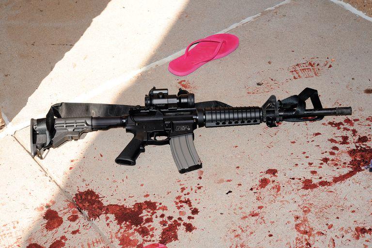 El rifle AR-15 Smith Wesson que James Holmes usó para matar a 12 personas en Aurora, en 2012