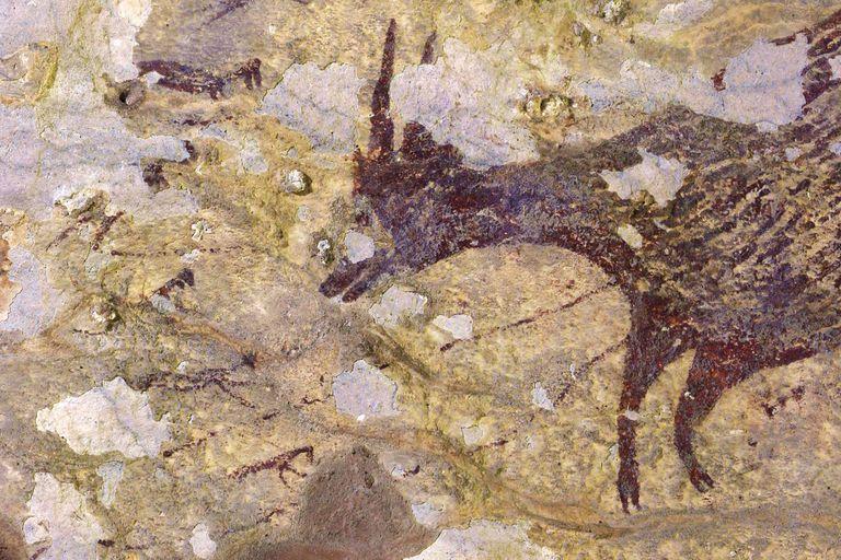 Otra imagen de la pintura rupestre descubierta en Indonesia, la más antigua obra figurativa conocida.