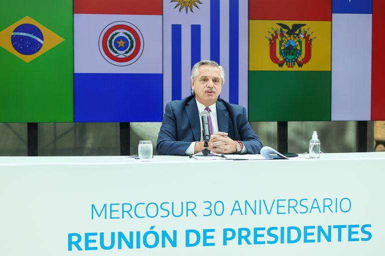 Alberto Fernández, en la reunión de presidentes del Mercosur