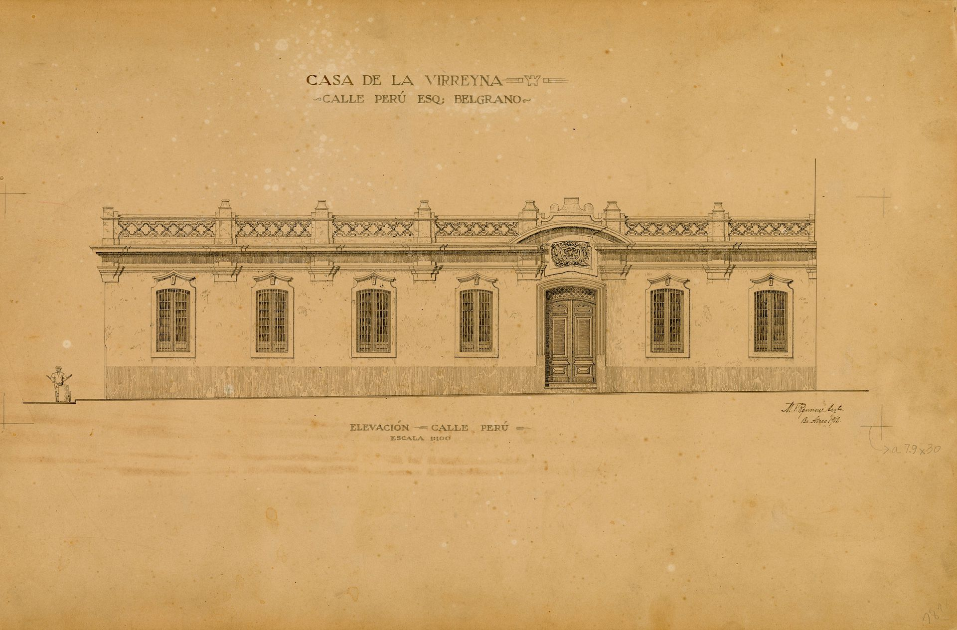 Uno de los croquis que el arquitecto Rönnow donó a la Escuela de Arquitectura antes de la demolición.