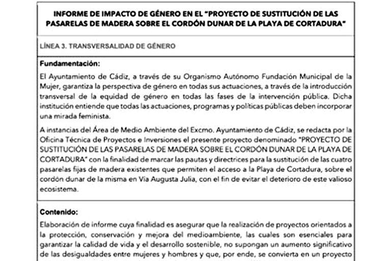 El informe sobre la sustitución de las pasarelas de Cádiz, con perspectiva de género