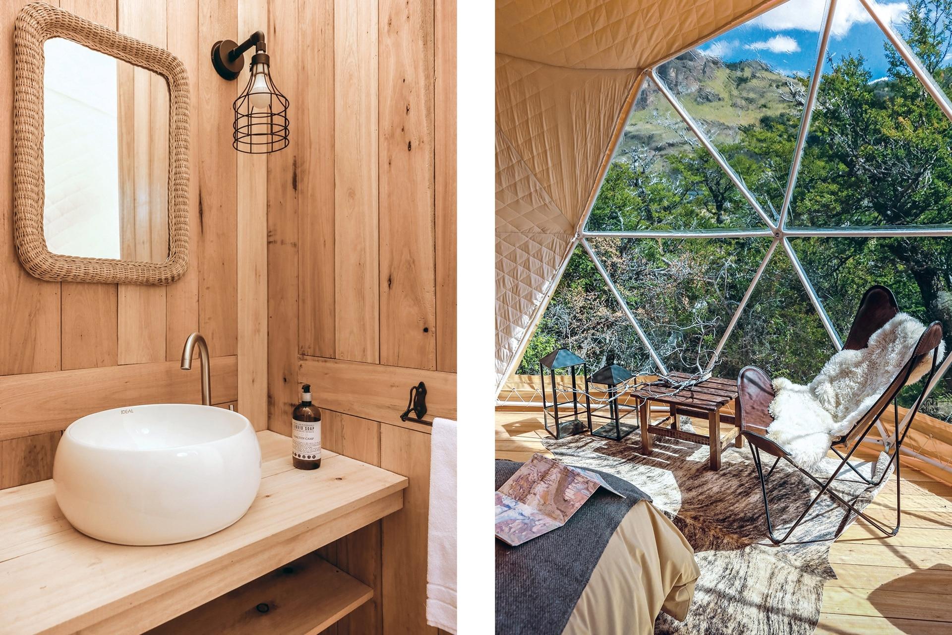 El tabique divisor está revestido en kiri hacia el dormitorio, y en eucalipto hacia el baño.