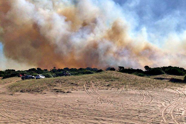 El fuego se originó en el bosque de la localidad balnearia