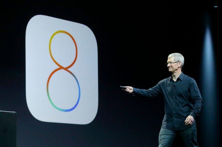 Tim Cook durante el anuncio de iOS 8