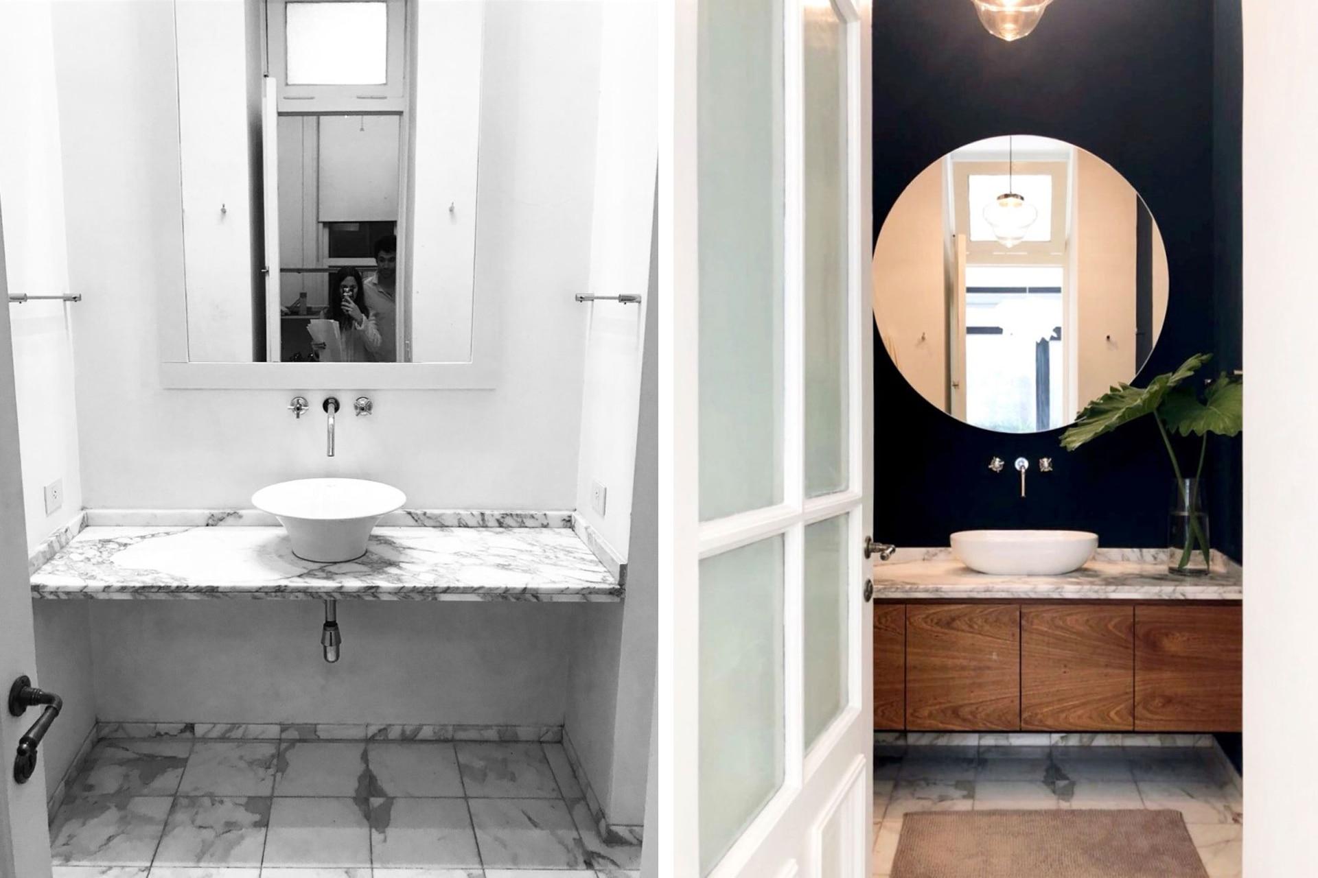 El baño se actualizó con pintura azul, un nuevo espejo redondo y el mueble bajomesada de petiribí.