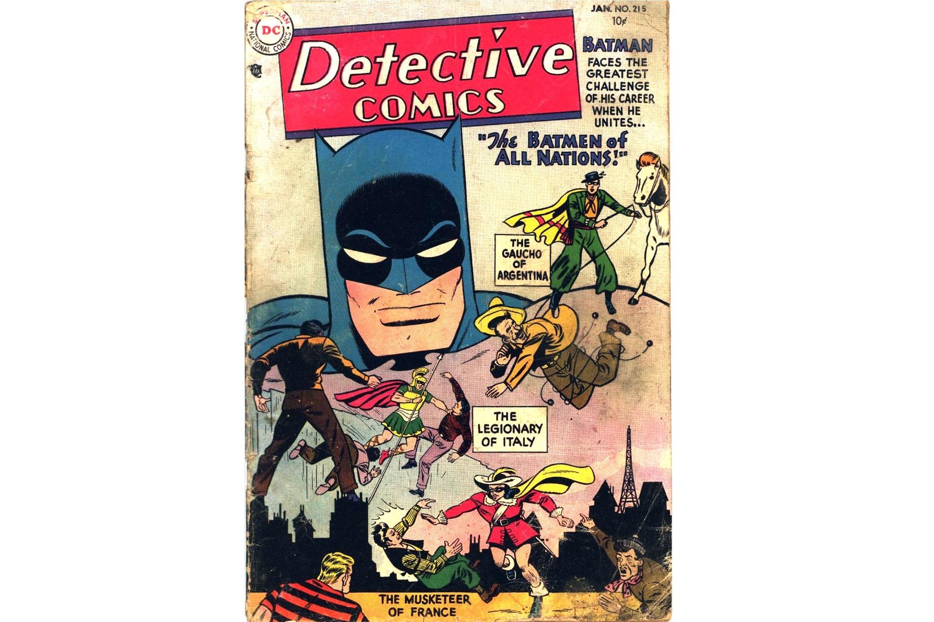 """""""The Gaucho of Argentina"""", nuestro Batman autóctono, miembro de la Liga internacional de Batipaladines. Dibujo de Sheldon Moldoff."""
