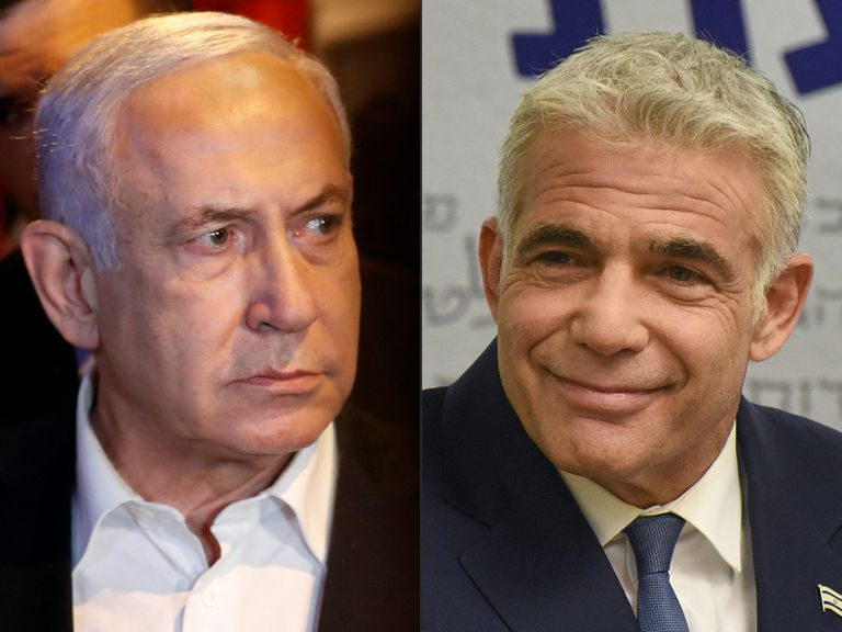 Esta combinación de imágenes muestra al primer ministro israelí Benjamin Netanyahu y al líder de la oposición centrista de Israel Yair Lapid