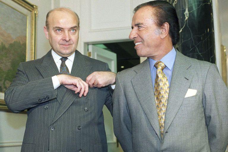 Domingo Cavallo y Carlos Menem en la Quinta de Olivos, en tiempos de convertibilidad